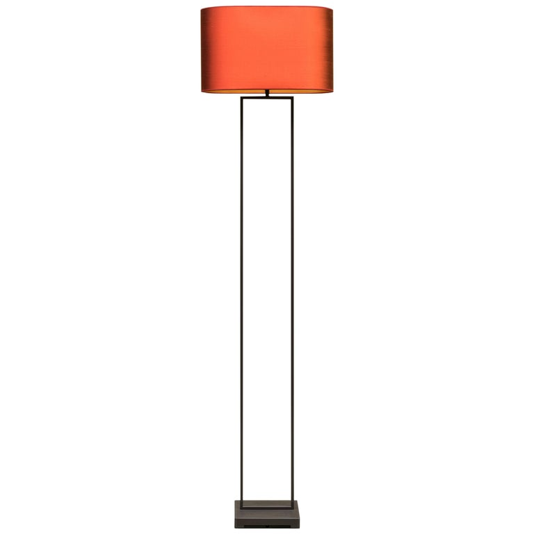 GHYCZY Lamp Tom MW24, Ristretto Frame, Lampshade Silk Red, Floor Lamp  For Sale