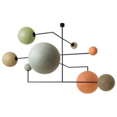 Lampada 061 Ceiling Lamp in Painted Metal and Fiberglass Spheres by Dimoremilano