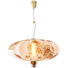ORIENTE Modern Ceiling Pendant Lamp in Brass & Printed Silk by Dimoremilano