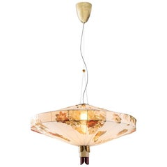Lampada 109 Modern Ceiling Pendant Lamp in Brass & Printed Silk by Dimoremilano