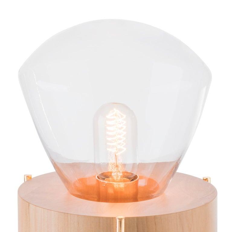 Table Lamp Lampadari #2, Brazilian Wood, Glass In New Condition For Sale In Bento Goncalves, Rio Grande do Sul