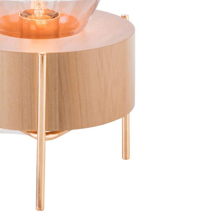 Table Lamp Lampadari #2, Brazilian Wood, Glass For Sale 2