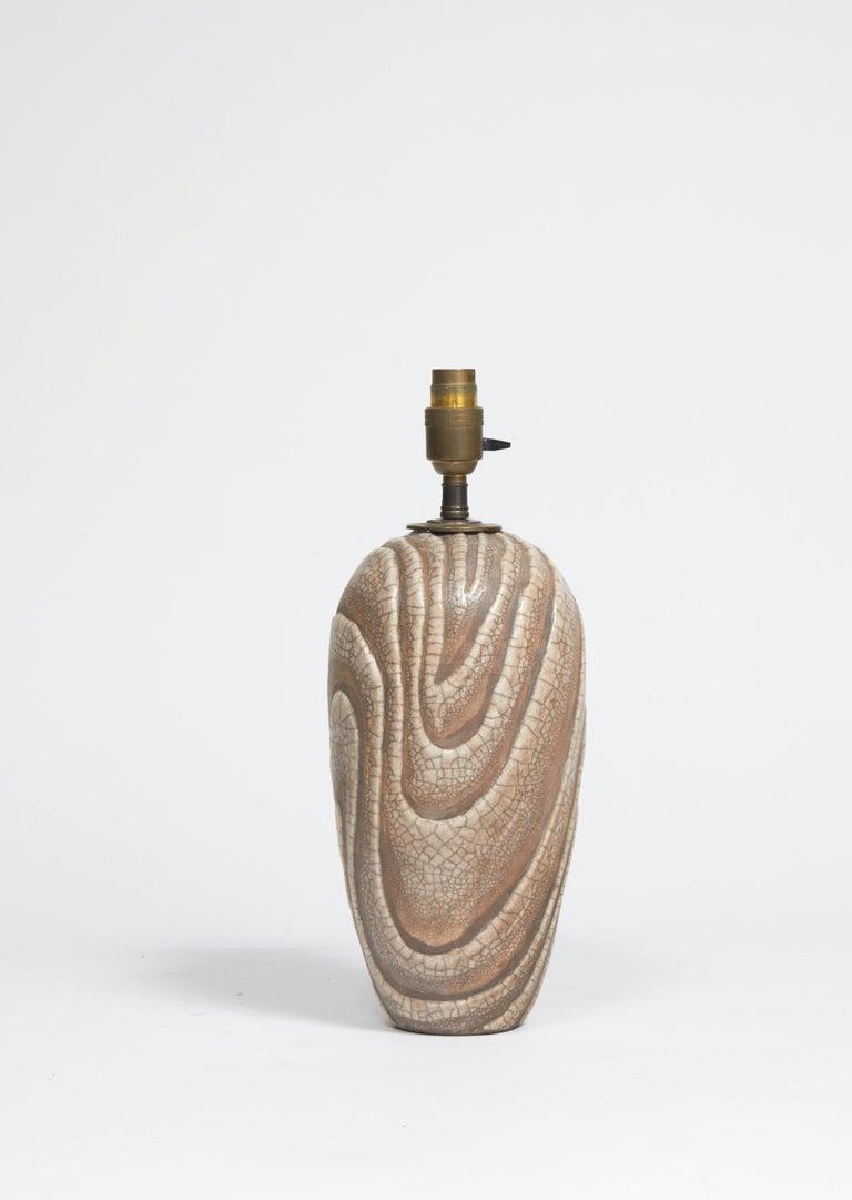 René Buthaud Raku ovoid Lamp  Signed