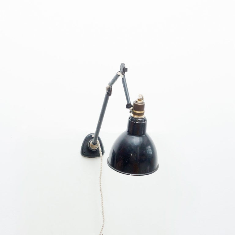 Mid-Century Modern Lampe Gras with Ball Joint Wall Lamp, Circa 1930 For Sale