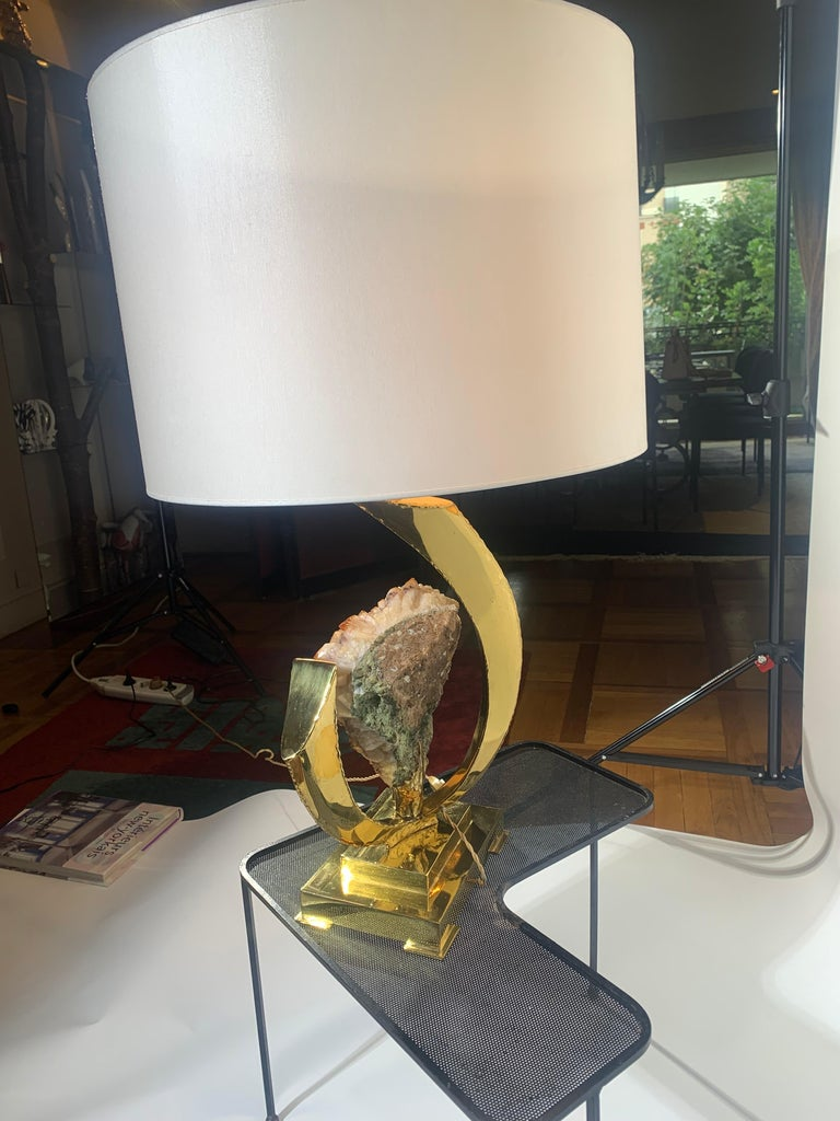 Late 20th Century Lamp decorated with a golden rock crystal geode. For Sale