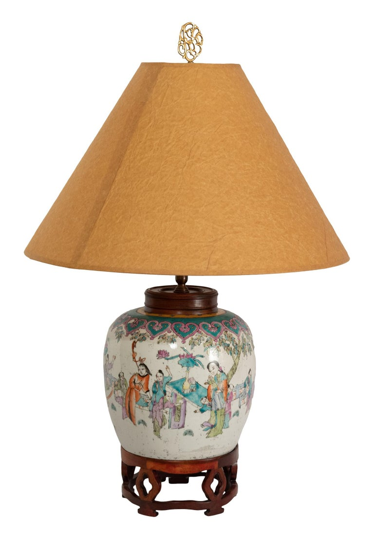 Lamped 19th Century Qing Vase In Good Condition For Sale In Salt Lake City, UT