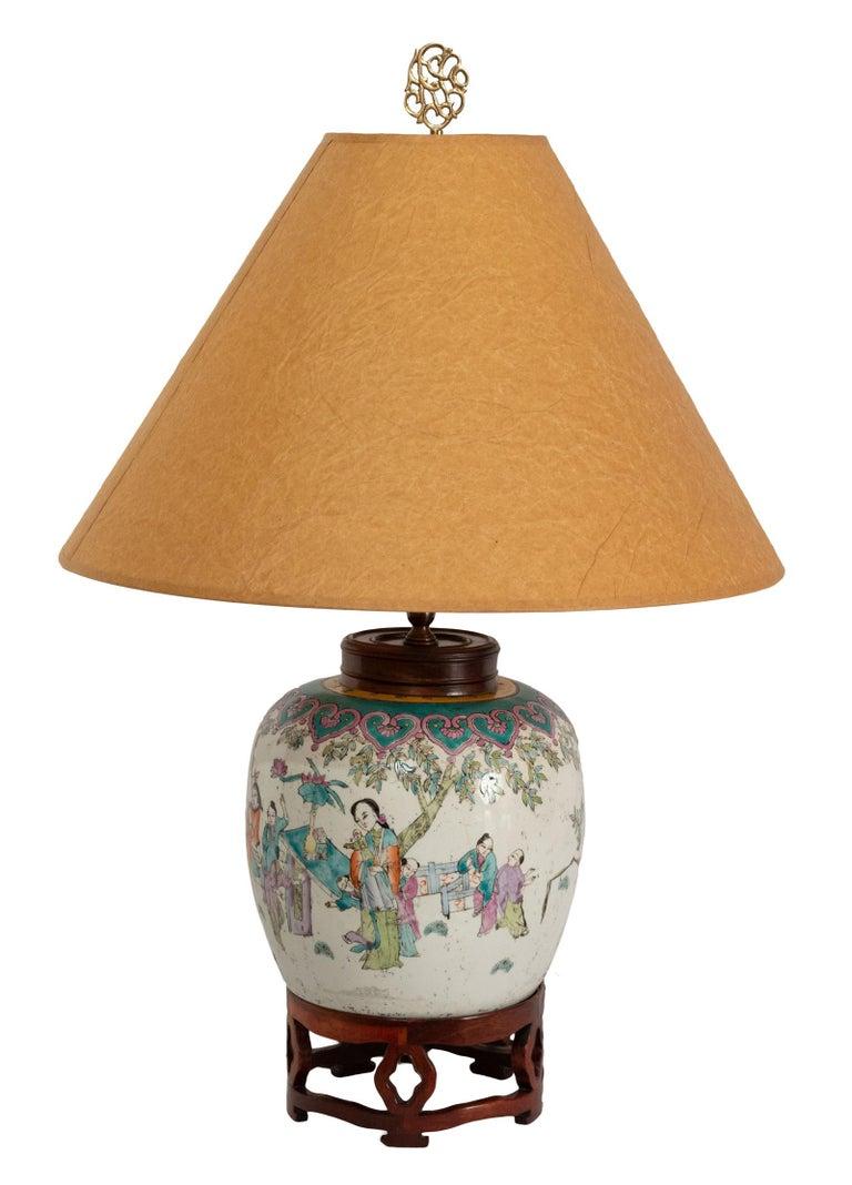 Ceramic Lamped 19th Century Qing Vase For Sale
