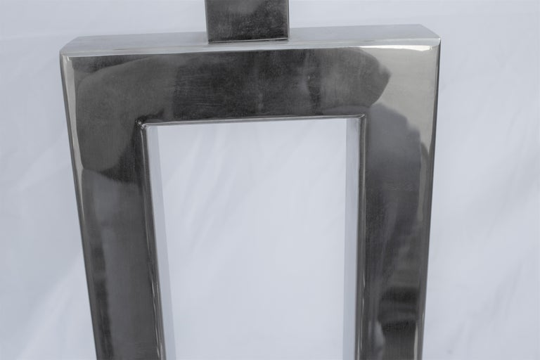 Plated Lamps Deco/Modern, Marble Base, Hi-Polished Nickel a Pair For Sale