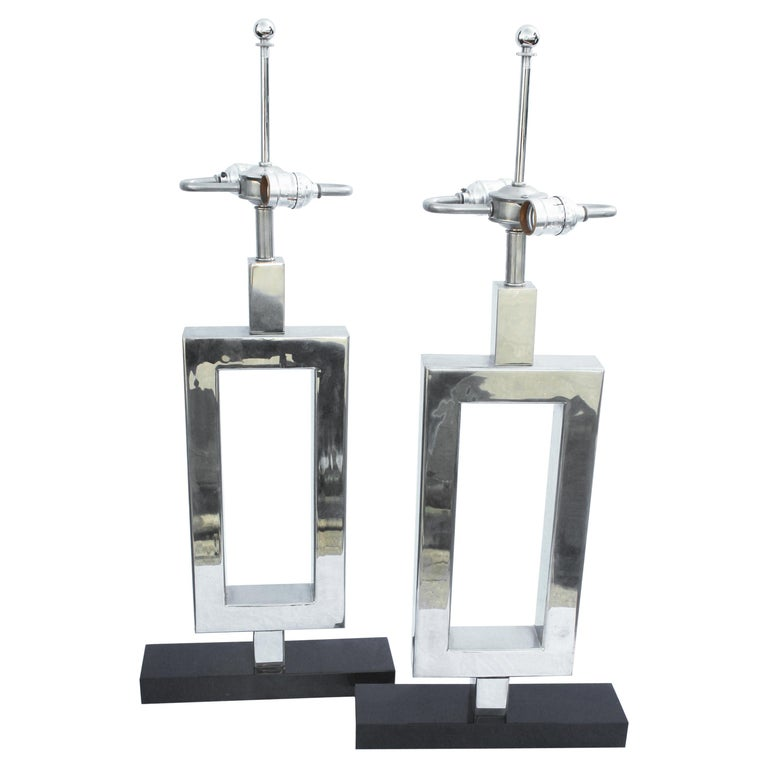 Lamps Deco/Modern, Marble Base, Hi-Polished Nickel a Pair For Sale