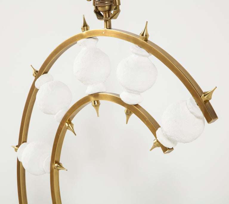 Pair of Lamps, Plaster and Brass, Organic Shape, Contemporary Design, Tall For Sale 4