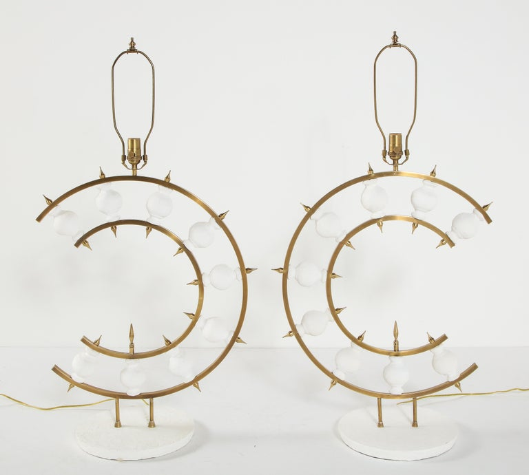 Pair of Lamps, Plaster and Brass, Organic Shape, Contemporary Design, Tall For Sale 5