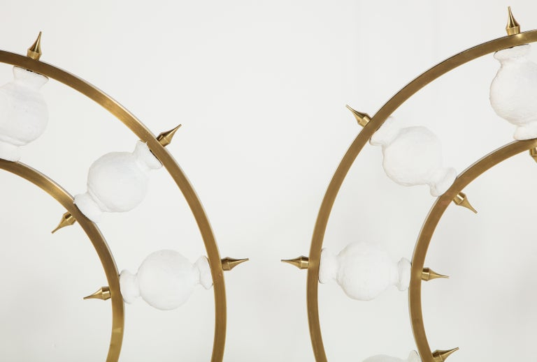 Pair of Lamps, Plaster and Brass, Organic Shape, Contemporary Design, Tall For Sale 6