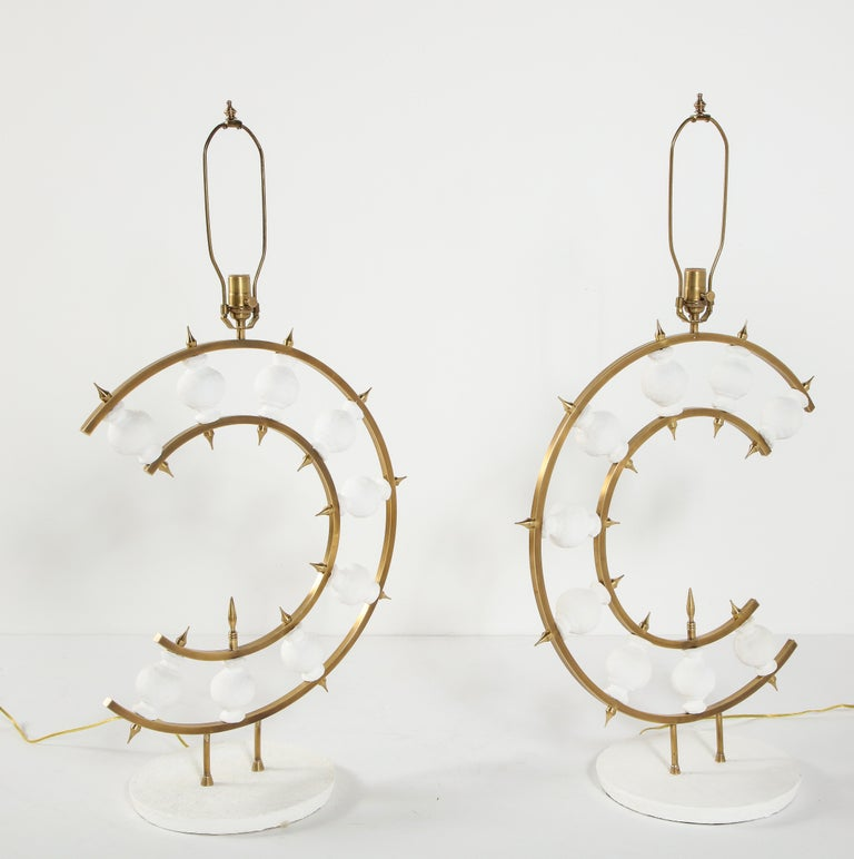 Pair of Lamps, Plaster and Brass, Organic Shape, Contemporary Design, Tall For Sale 7