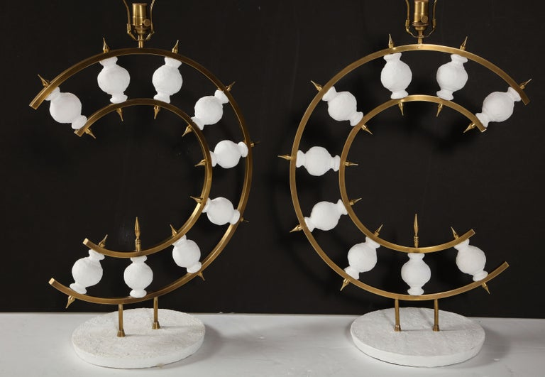 Pair of Lamps, Plaster and Brass, Organic Shape, Contemporary Design, Tall For Sale 10