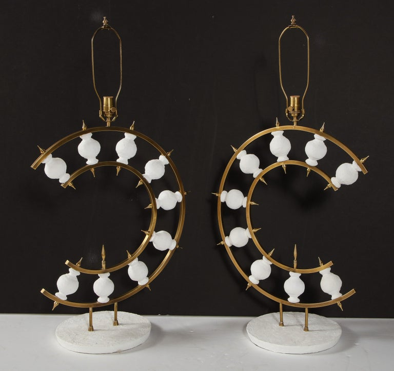 Pair of Lamps, Plaster and Brass, Organic Shape, Contemporary Design, Tall For Sale 11