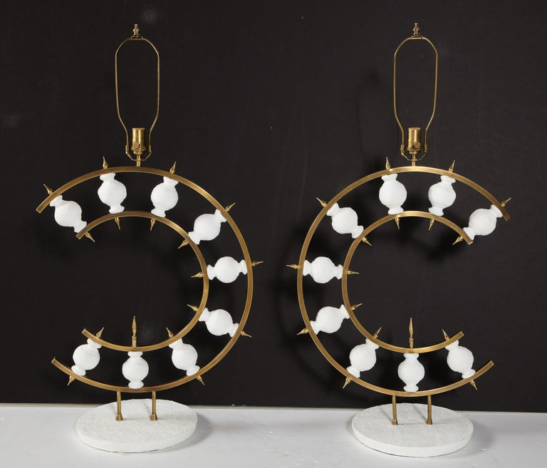 Mid-Century Modern Pair of Lamps, Plaster and Brass, Organic Shape, Contemporary Design, Tall For Sale