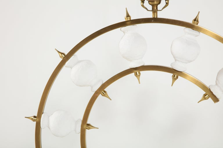 American Pair of Lamps, Plaster and Brass, Organic Shape, Contemporary Design, Tall For Sale