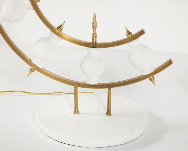 Hand-Crafted Pair of Lamps, Plaster and Brass, Organic Shape, Contemporary Design, Tall For Sale