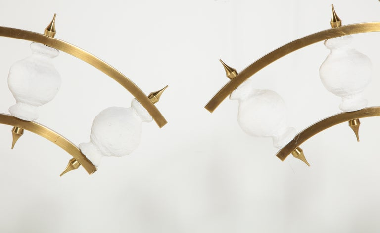 Pair of Lamps, Plaster and Brass, Organic Shape, Contemporary Design, Tall In New Condition For Sale In New York, NY