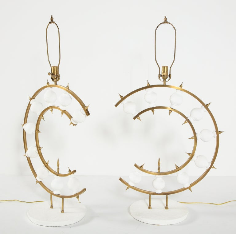 Pair of Lamps, Plaster and Brass, Organic Shape, Contemporary Design, Tall For Sale 1