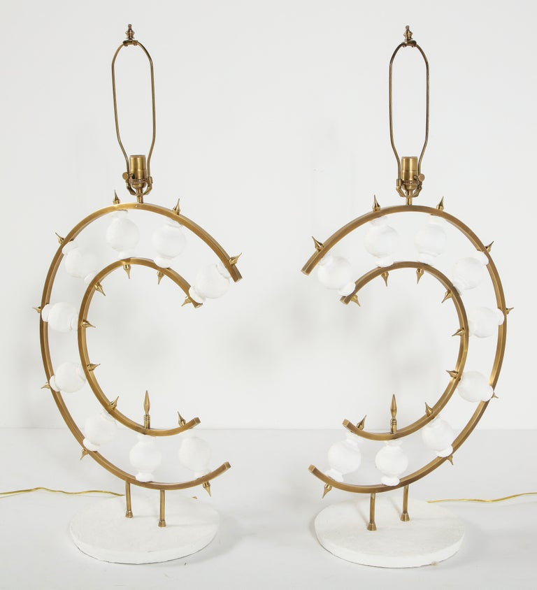 Pair of Lamps, Plaster and Brass, Organic Shape, Contemporary Design, Tall For Sale 2
