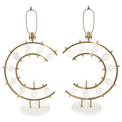 Lamps, Pair of Lamps, Brass with White Plaster, in Stock