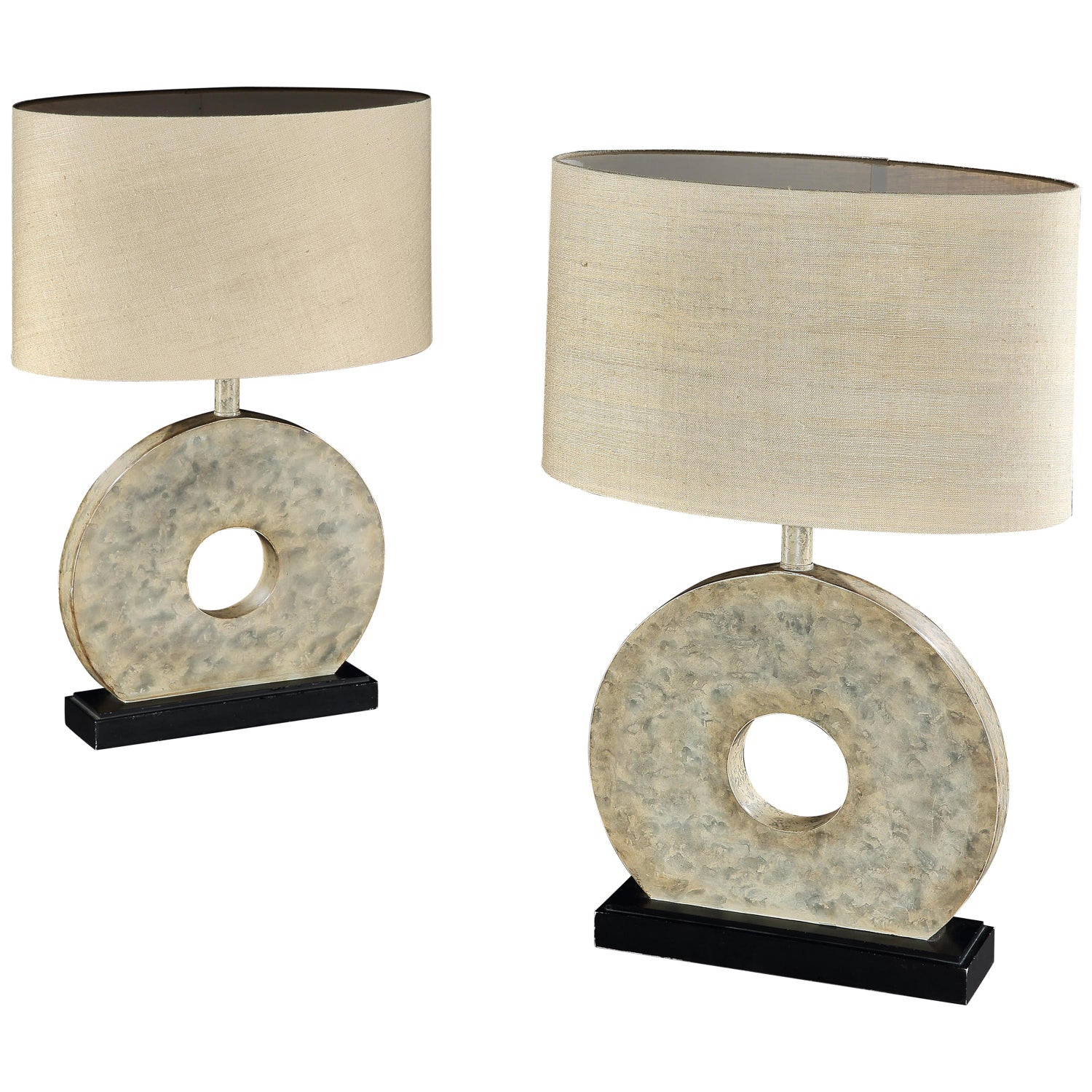 Lamps Table Pair Marbled Midcentury Modern Circle Infinity Earth Palette