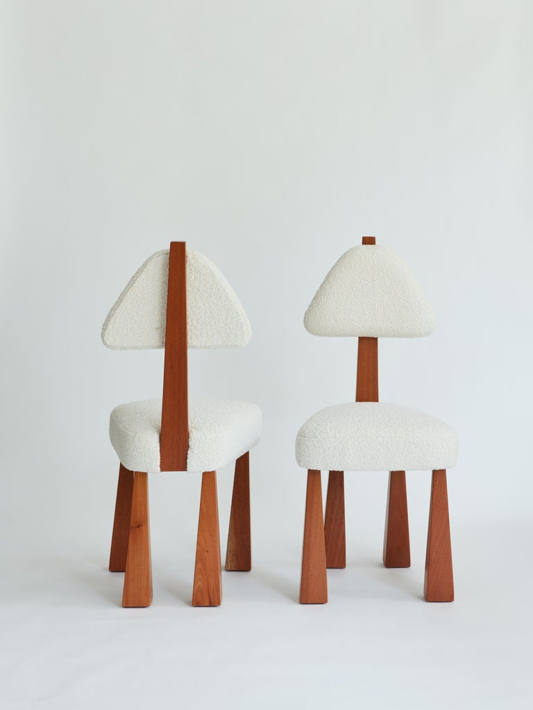 Modern Lana Dining Chair, Ivory Bouclé & Wood Chair by Christian Siriano For Sale