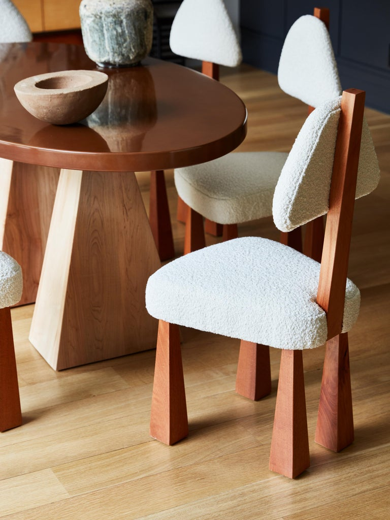 Lana Dining Chair, Ivory Bouclé & Wood Chair by Christian Siriano In New Condition For Sale In New York, NY