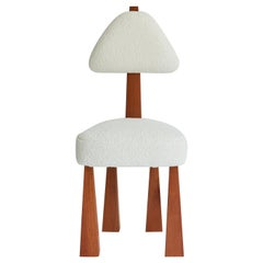 Lana Dining Chair, Ivory Bouclé & Wood Chair by Christian Siriano