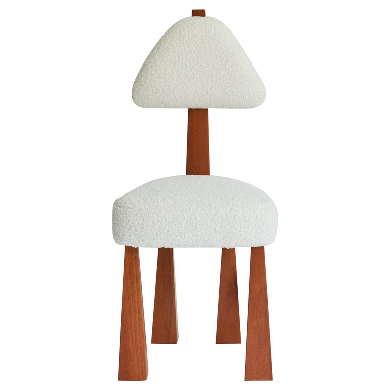 Lana Dining Chair, Ivory Bouclé & Wood Chair by Christian Siriano For Sale