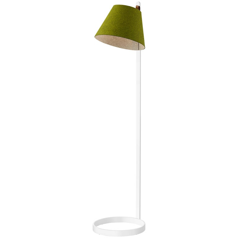Lana Floor Lamp in Moss and Grey with White Base by Pablo Designs For Sale