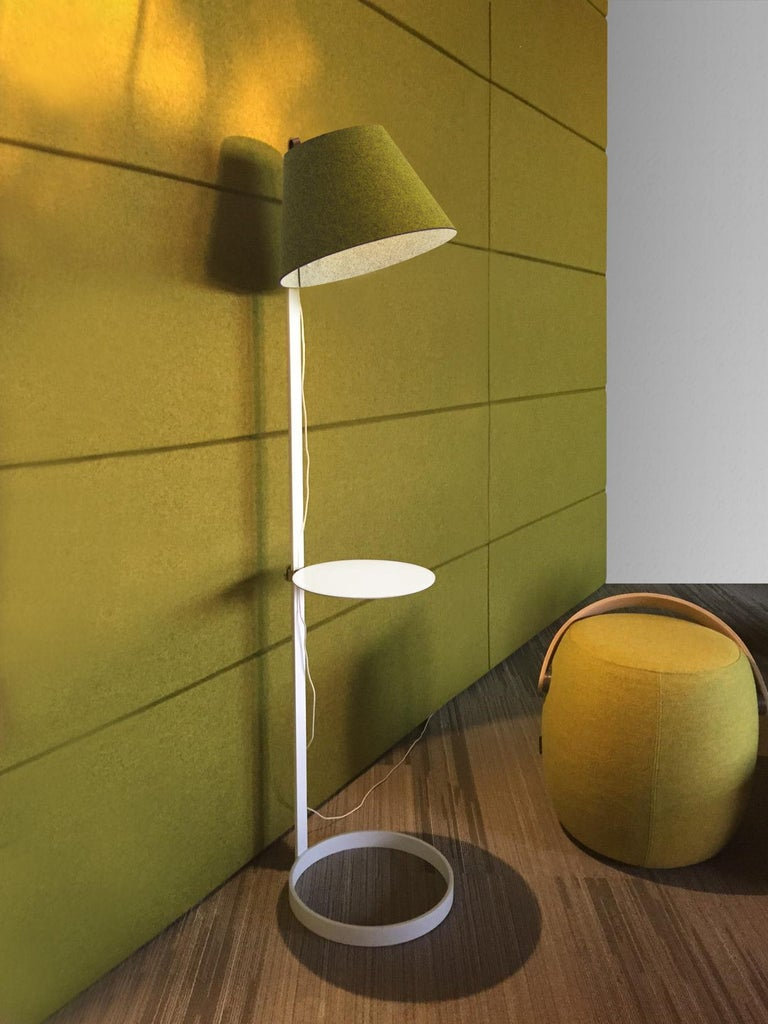 Modern Lana Floor Lamp in Stone and Grey with Tray and White Base by Pablo Designs For Sale