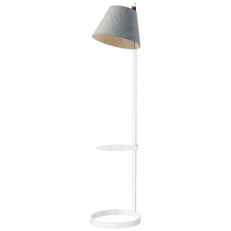 Lana Floor Lamp in Stone and Grey with Tray and White Base by Pablo Designs For Sale