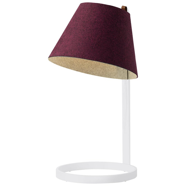 Lana Large Table Lamp In Plum And Grey With White Base By Pablo