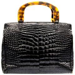 Lana Marks Black Crocodile Handbag