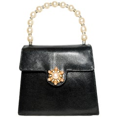 Lana Marks Black Lizard Flap Bag with Decorative Faux Pearls & Crystals Brooch