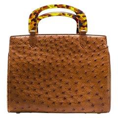 Lana Marks Brown Ostrich Handbag