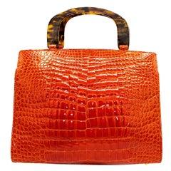 Lana Marks Fire Engine Red Alligator Handbag