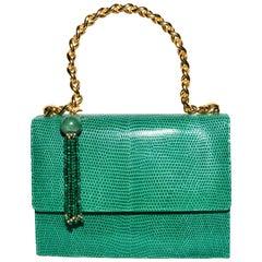 Lana Marks Green Lizard With Malachite Tassel & Gold Chain Handle
