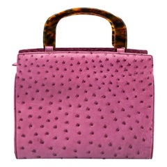 Lana Marks Lavender Pink Ostrich Handbag