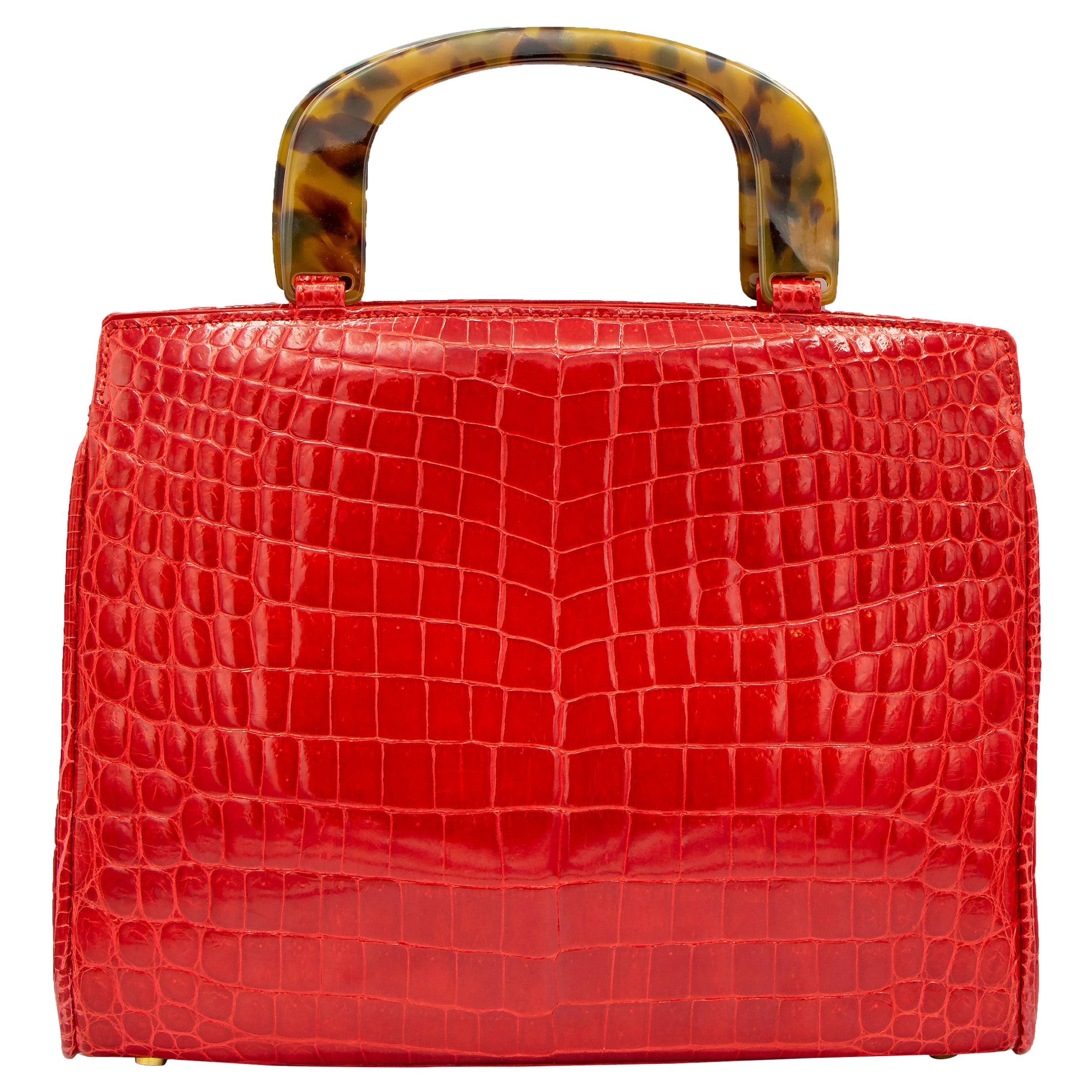 Lana Marks Lipstick Red Alligator Handbag
