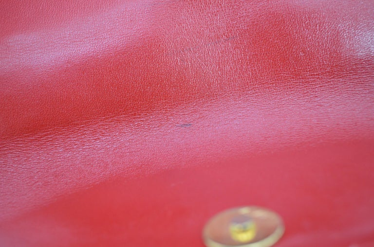 Lana Marks Red Alligator Purse with Pearl Handle For Sale 6