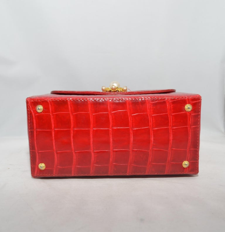 Women's Lana Marks Red Alligator Purse with Pearl Handle For Sale