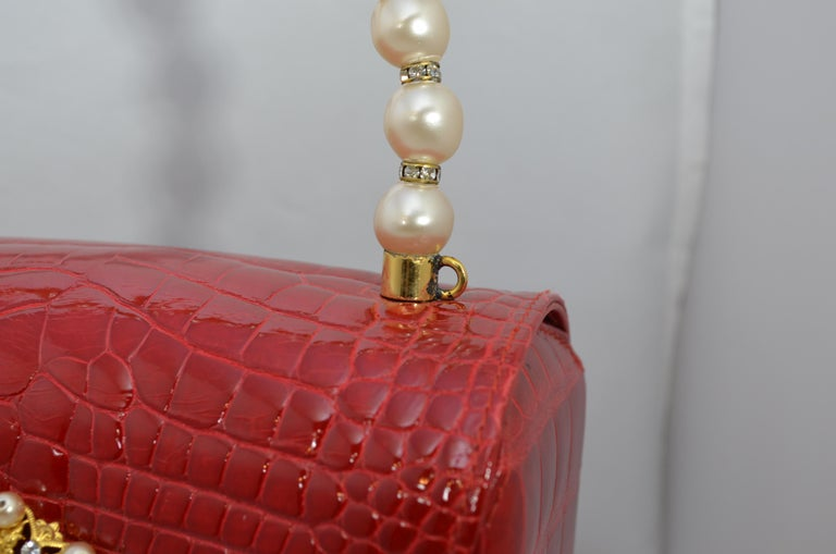 Lana Marks Red Alligator Purse with Pearl Handle For Sale 1