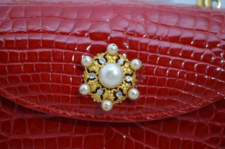Lana Marks Red Alligator Purse with Pearl Handle For Sale 3