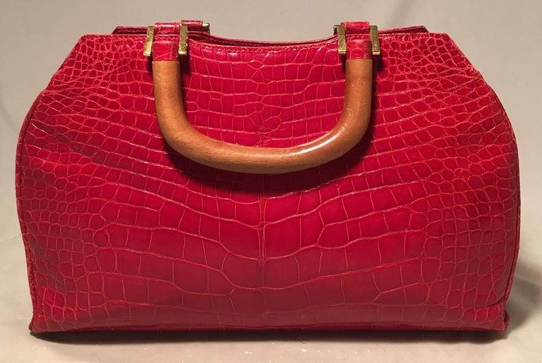 Women's Lana Marks Red Crocodile Wood Handle Handbag For Sale