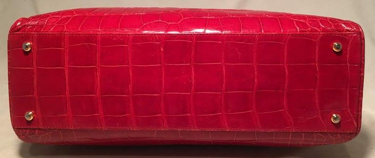 Lana Marks Red Crocodile Wood Handle Handbag For Sale 1