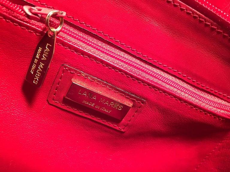 Lana Marks Red Crocodile Wood Handle Handbag For Sale 5