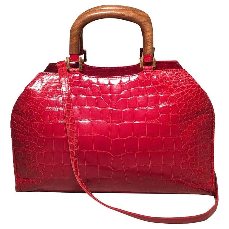 Lana Marks Red Crocodile Wood Handle Handbag For Sale